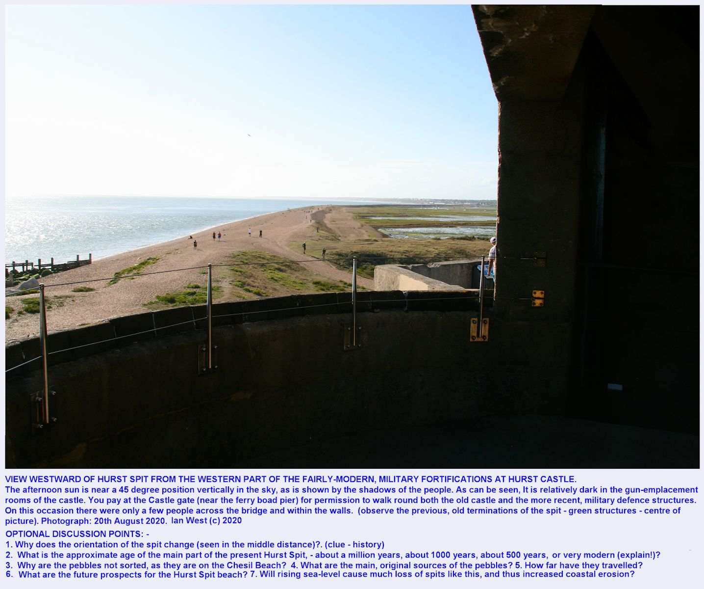 A view from the western end of the fortifications at the end of Hurst Spit, Hampshire, with a partial view of the shingle spit, 20th August 2020