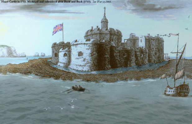 The Tudor Castle at Hurst Castle Spit, Hampshire, as it was in 1733