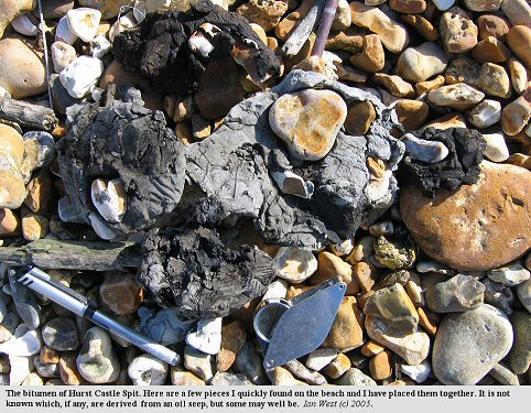 Bitumen from Hurst Castle Spit, Hampshire