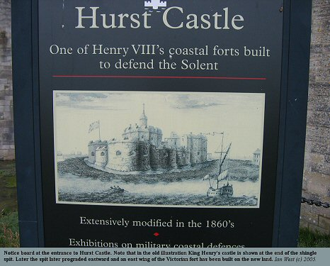 Notice at the entrance to Hurst Castle, Hampshire