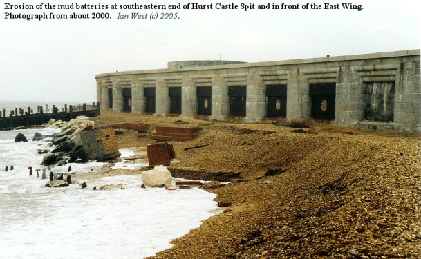 Erosion of the mud batteries at the southeastern end of Hurst Spit, Hampshire, about 2000