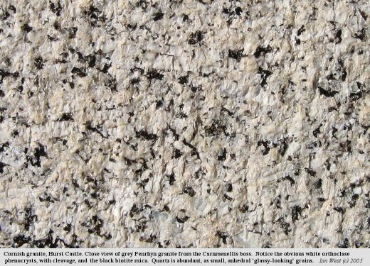 Close-up view of Cornish granite in a casemate at the western end of Hurst Castle, Hampshire
