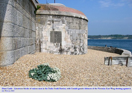 Hurst Castle, seaward side. Limestone walls of old bastion and granite defences of Victorian date