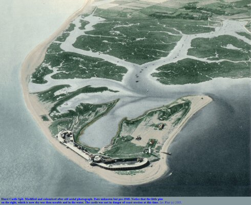 Old aerial photograph of Hurst Castle Spit, Hampshire, modified and colourised