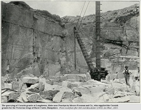 Quarrying of Cornish granite near Penrhyn by Freeman and Co. at beginning of 20th century.