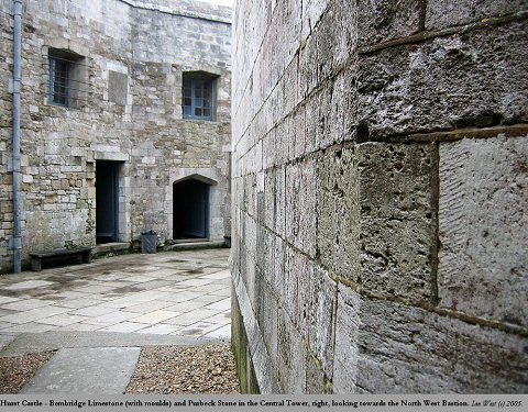 Limestone walls of the Tudor tower of Hurst Castle, Hampshire