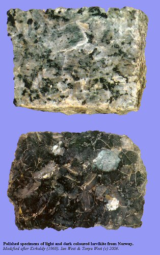 Polished specimens of light and dark-coloured, Norwegian, larvikite, a rock type used for sea defences at Hurst Castle Spit, Hampshire