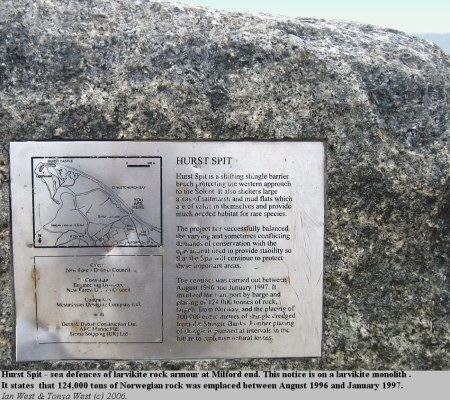 Notice about rock armour on a monolith of larvikite at Hurst Spit, Hampshire