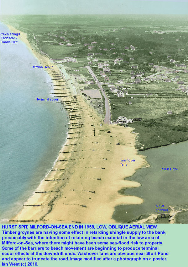 The Milford end of Hurst Spit, Hampshire, as seen in aerial view in 1958