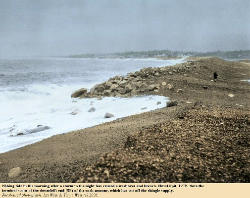 Site of washover and breaching of Hurst Spit, Hampshire, at the southeastern end of rock armour sea defences, 1979