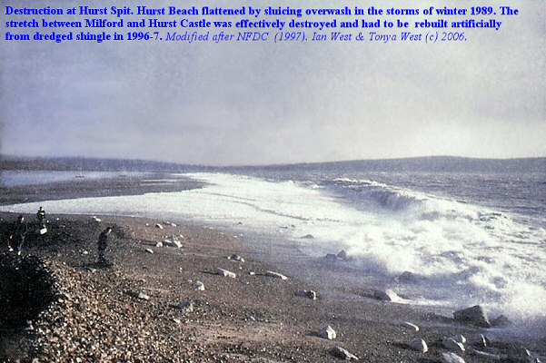 Destruction by storms of Hurst Beach in 1989, Hurst Spit, Hampshire