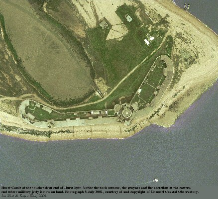 Aerial view of Hurst Castle and the Hurst Point area, Hurst Spit, Hampshire, 5 July 2001, courtesy of Channel Coastal Observatory