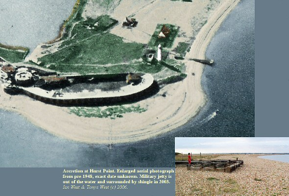 Accretion of shingle at Hurst Point, Hurst Spit, Hampshire by 2003, aerial view
