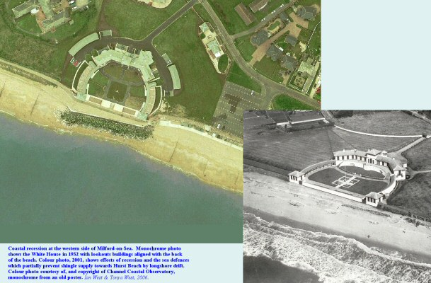 Comparison of the coast at the White House, from 1932-2001, Milford-on-Sea, Hampshire