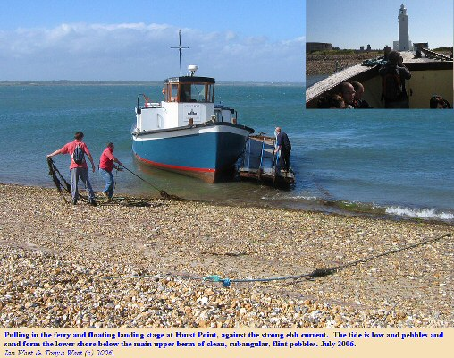 Ferry at Hurst Point, Hurst Spit, Hampshire, showing sandy shingle at low tide