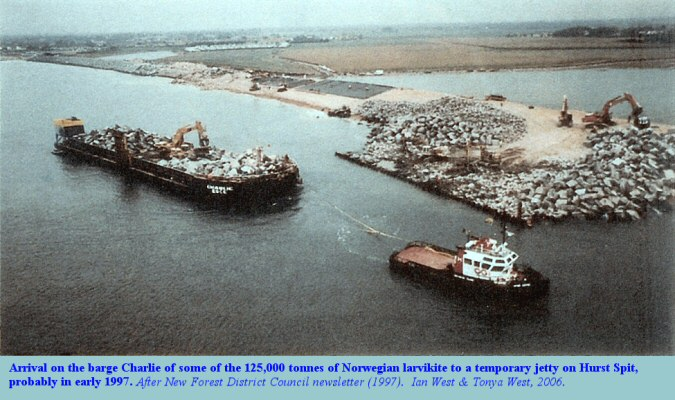 Arrival of larvikite rock armour at Hurst Spit, Hampshire, probably in early 1997