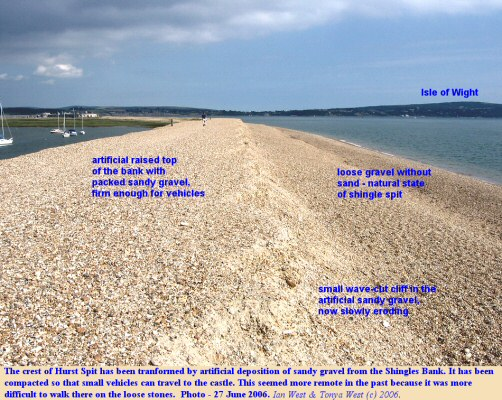 The artificial crest to Hurst Spit, Hampshire, with evidence of some minor erosion, 2006
