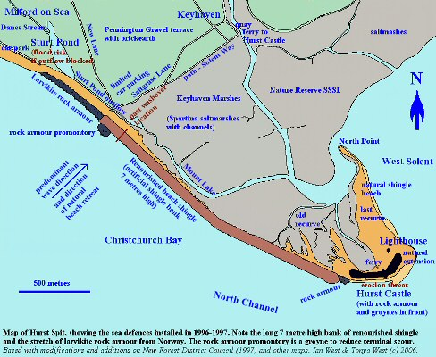 Map of sea defences and other features at Hurst Spit, Hampshire