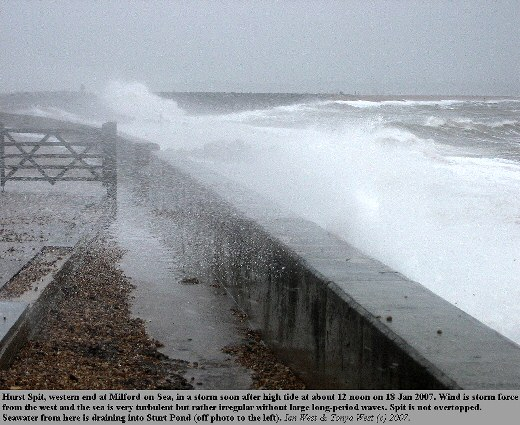 The effects of a storm, as observed at Milford-on-Sea at the western end of Hurst Spit, Hampshire, on 18 January 2007