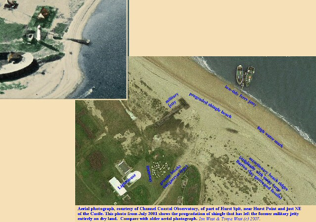 Aerial photographs showing accretion at the military jetty, Hurst Castle, Hurst Spit, Hampshire, 2001, courtesy of Channel Coastal Observatory