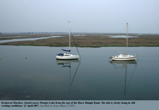 Keyhaven Marshes with a rising tide in quiet evening conditions, as seen from Hurst Spit, Hampshire