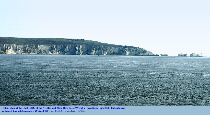 The Chalk cliffs of the Needles, Isle of Wight, as seen from Hurst Spit, Hampshire, but enlarged, April 2007