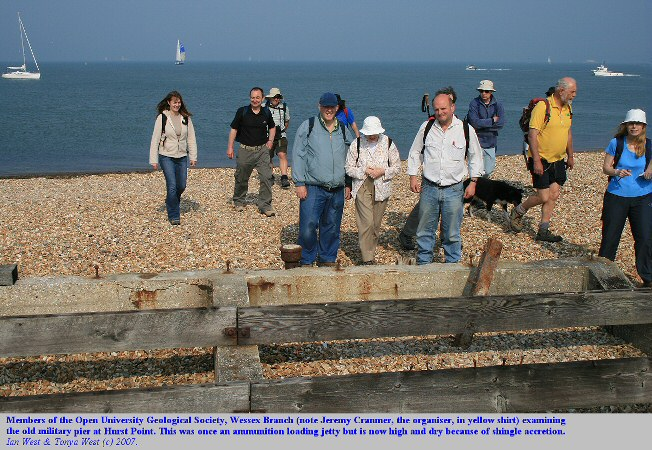 Members of the Open University Geological Society examine the old jetty at Hurst Point, which is now high and dry, 2007.