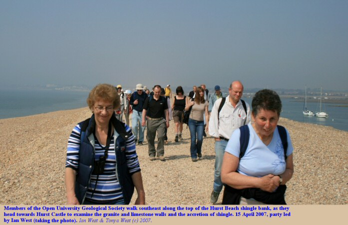 Members of the Open University Geological Society walk southeastward down Hurst Beach towards the castle at Hurst Spit, Hampshire, 2007