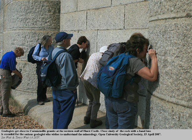 Members of the OUGS Geological Society at the granite wall, western end of Hurst Castle, Hurst Spit, Hampshire
