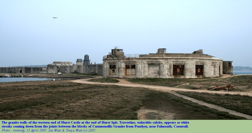 A general view of the western end of Hurst Castle with defences of Cornish granite, Hurst Spit, Hampshire