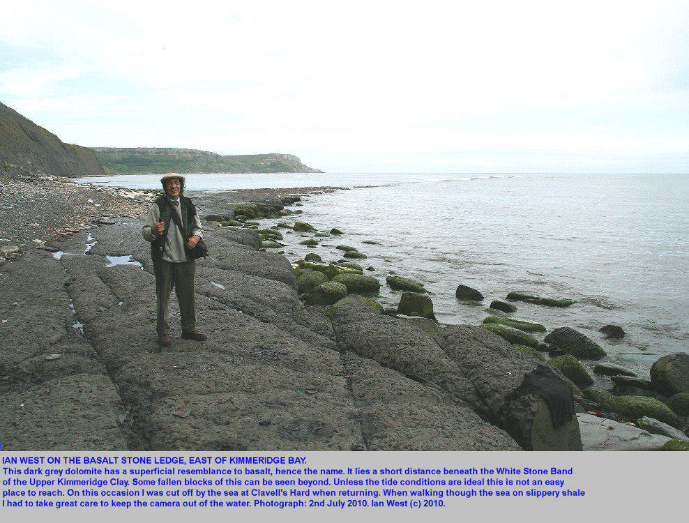 The Basalt Stone Ledge, east of Kimmeridge Bay, Dorset, 2010, with the tide rising rapidly