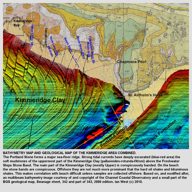 The multibeam bathymetry image and the geological map of the coast between Kimmeridge Bay and St. Aldhelm's Head, Dorset, linked to show sea floor geology