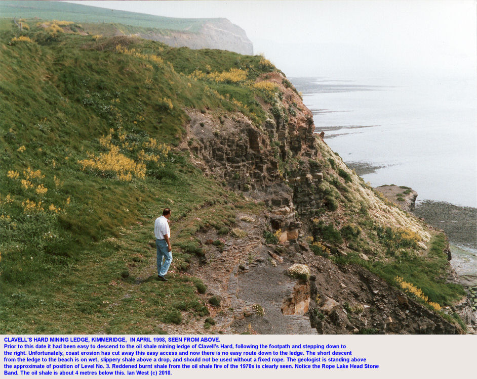 Above Clavell's Hard mining ledge, Kimmeridge, in 1998