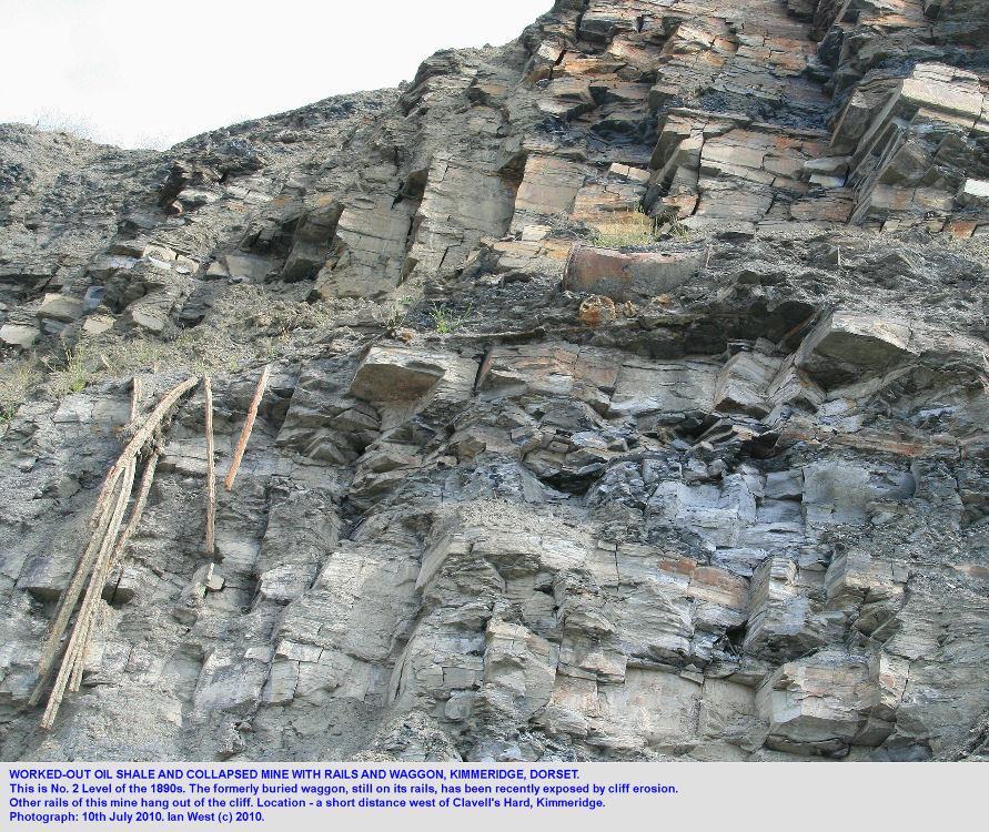 Worked-out oil shale and collapse of No.2 Level, with an old buried waggon on rails, west of Clavell's Hard, Kimmeridge, Dorset, 2010