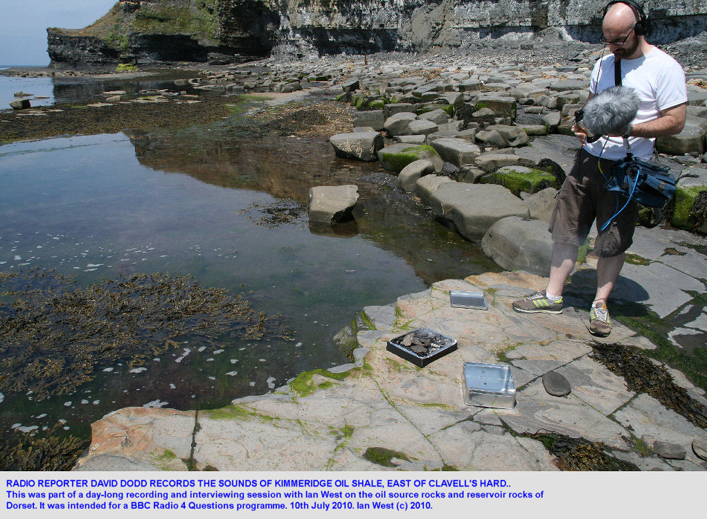 David Dodd records the sounds of Kimmeridge oil shale, east of Clavell's Hard, Kimmeridge, Dorset, 2010