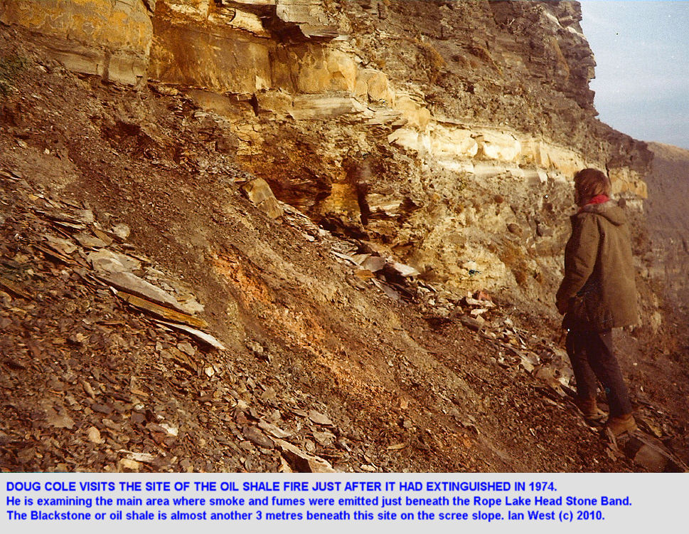 Doug Cole visits site of oil shale fire, Clavell's Hard, Kimmeridge, Dorset in 1974