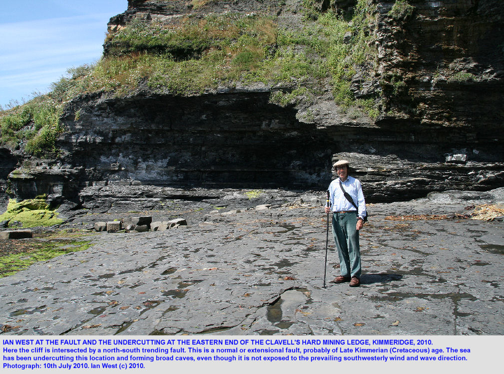 Ian West at the extensional fault at the eastern end of the Clavell's Hard mining ledge, Kimmeridge, Dorset, 2010