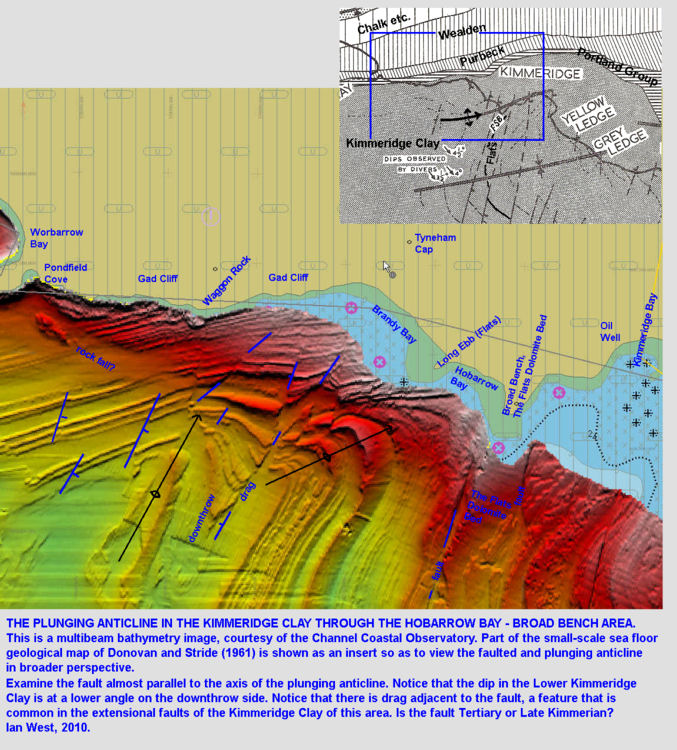 Plunging anticlines with faults offshore from Kimmeridge and Gad Cliff, Dorset, multibeam bathymetry image of the Channel Coastal Observatory