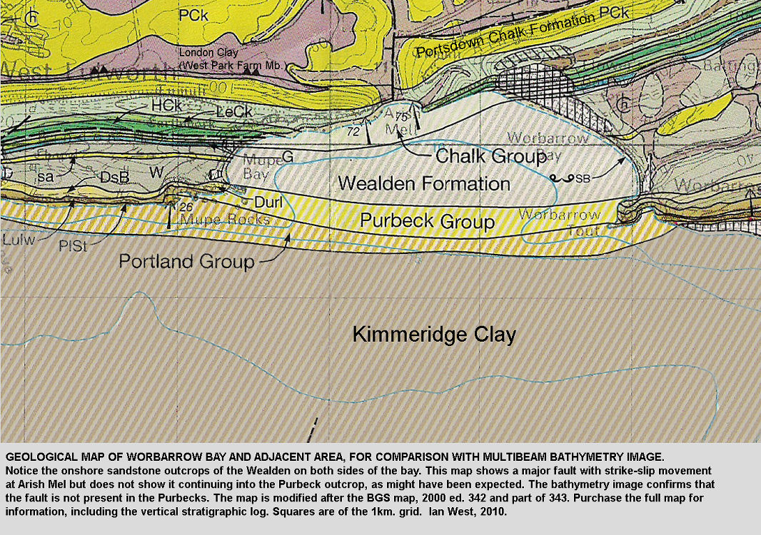 A modified version of the BGS geological map of Worbarrow Bay, Dorset