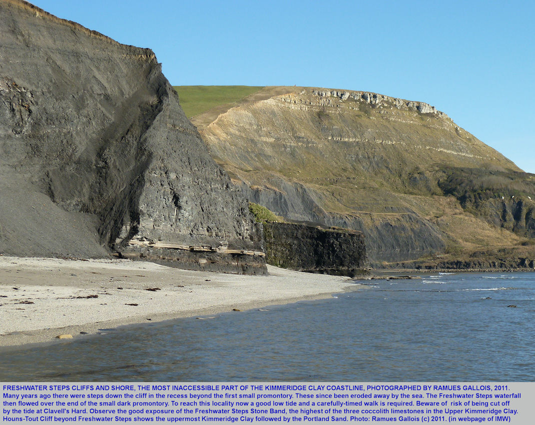 Freshwater Steps shoreline and cliffs, east of Kimmeridge Bay, Dorset, photographed by Ramues Gallois, 28th October 2011