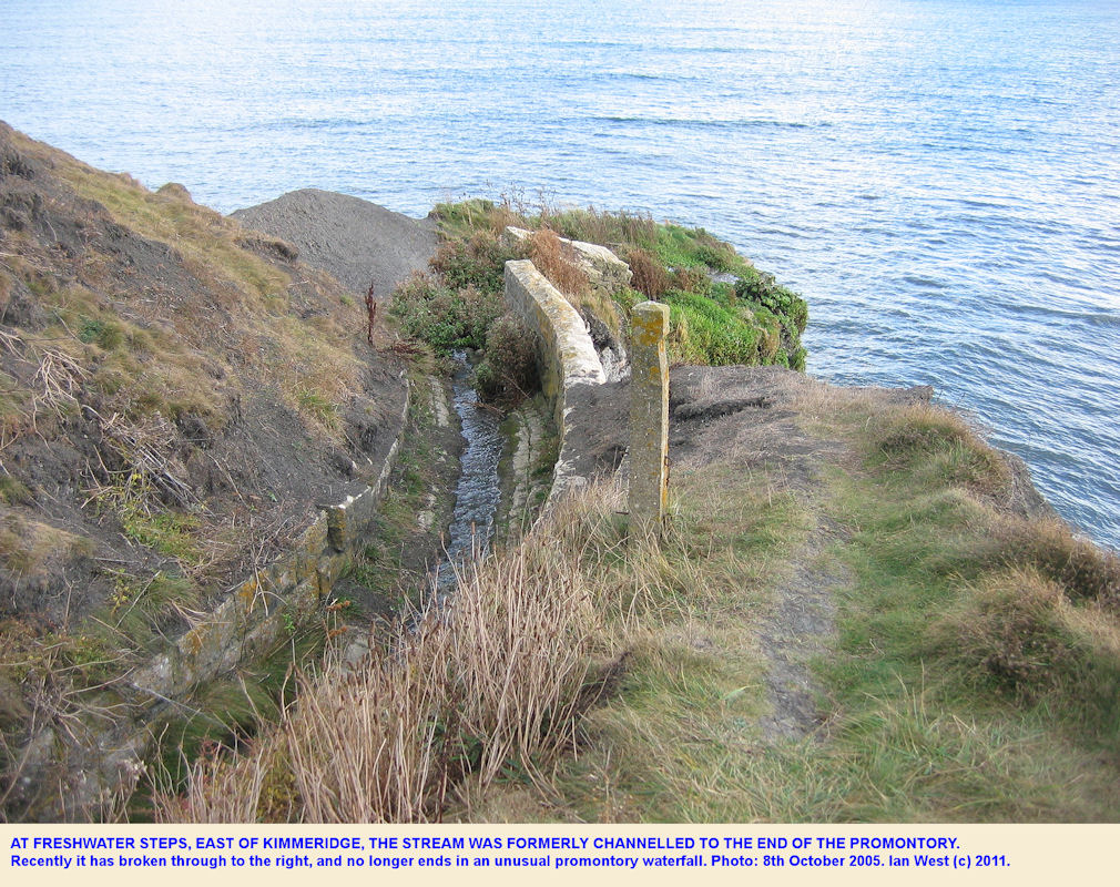 The stream at Freshwater Steps was formerly channelled to the end of the promontory, Dorset
