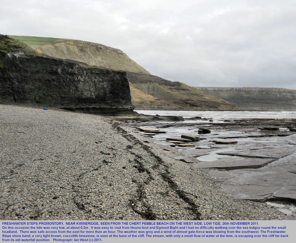 Freshwater Steps promontory, from the chert pebble beach on the west side, location east of Kimmeridge Bay, Dorset, photographed by Ian West, 26th November 2011