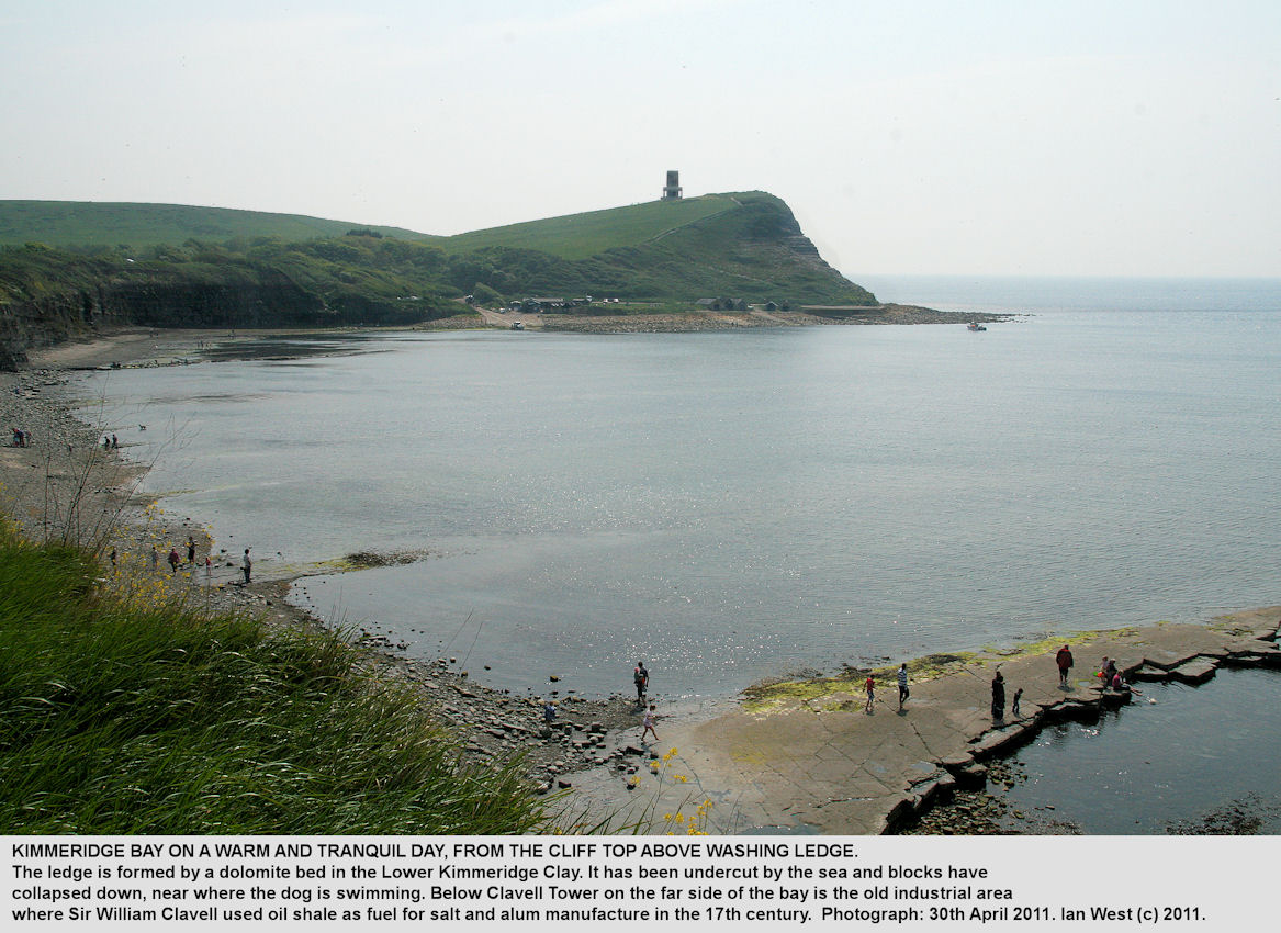 Kimmeridge Bay, Dorset, seen by Ian West from the cliff top above Washing Ledge, on a tranquil day