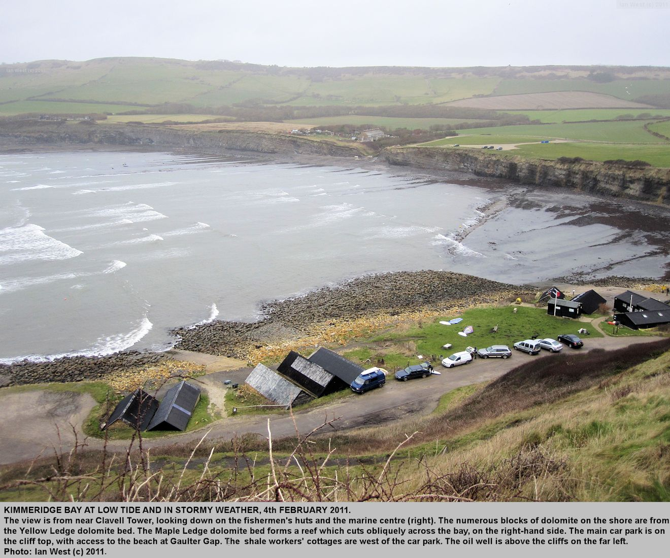 Kimmeridge Bay, Dorset, seen from the hill with Clavell Tower, in stormy weather, 4th February 2011