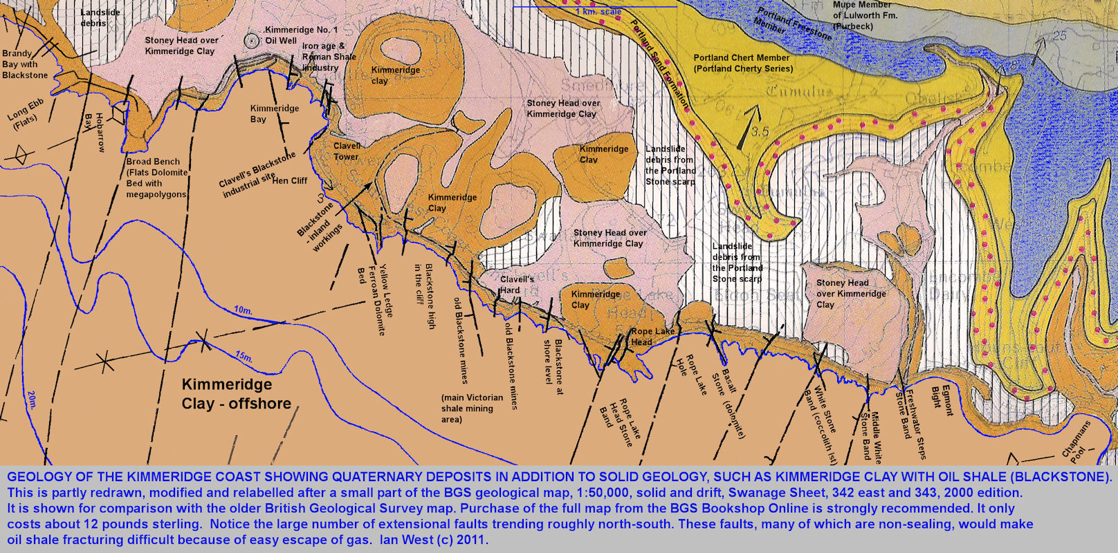 Geology of the Kimmeridge coast, Dorset, partly redrawn after a modern geological map
