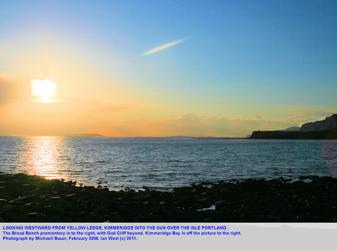 View westward from Yellow Ledge, Kimmeridge, towards the Isle of Portland and into the late afternoon sun, 2006