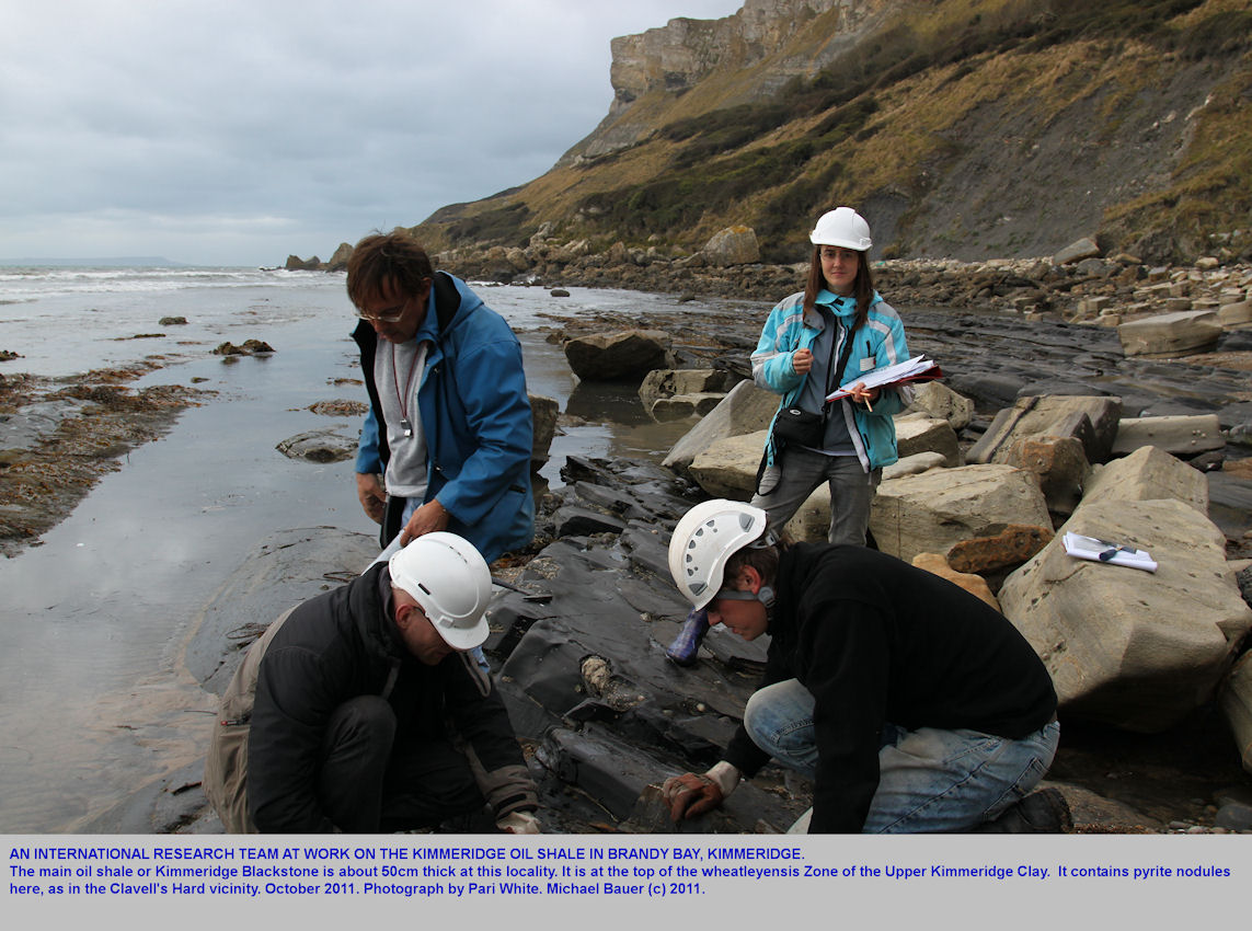 A research team working on the Kimmeridge oil shale or Blackstone at Brandy Bay, Kimmeridge, Dorset, October 2011