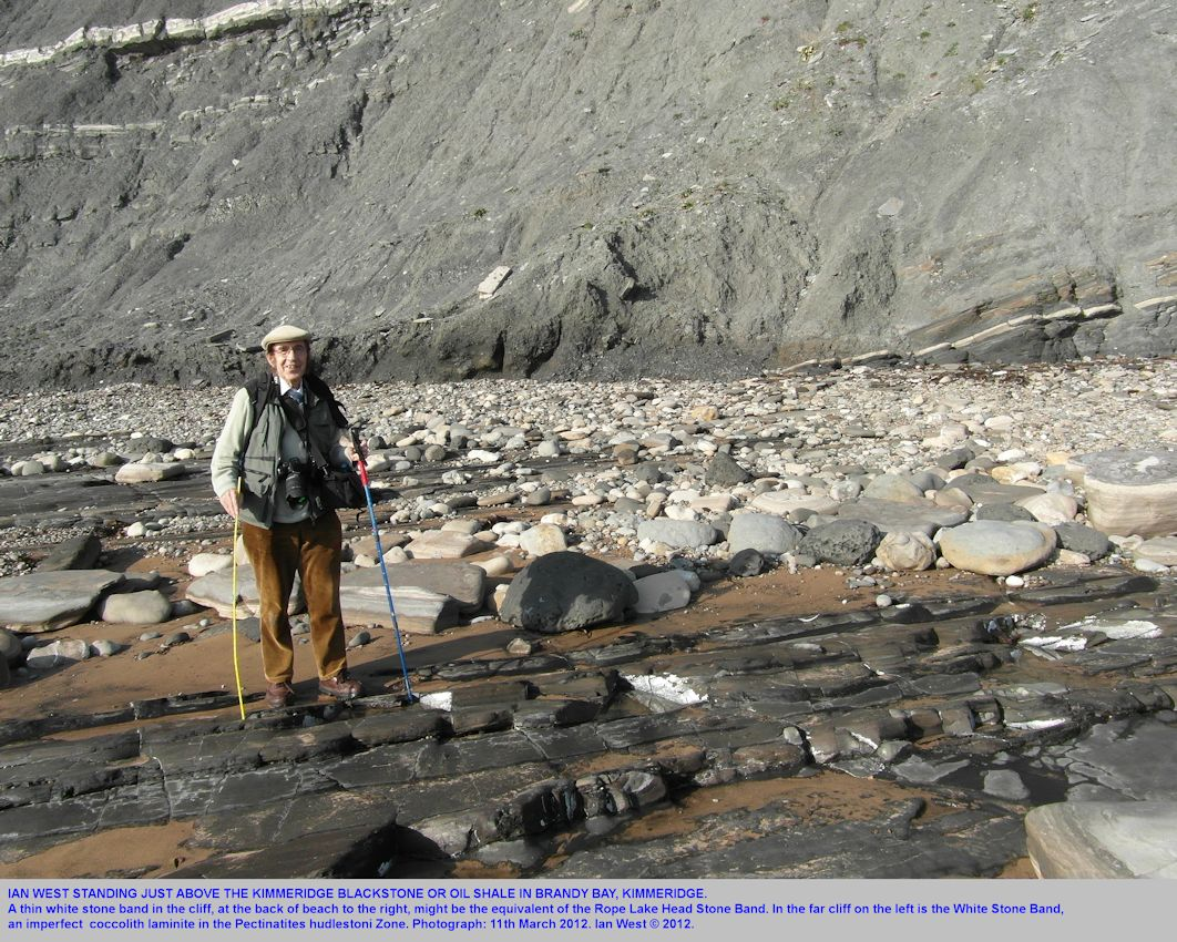 Ian West at the Kimmeridge Blackstone or oil shale, Brandy Bay,  Kimmeridge, Dorset, 2012