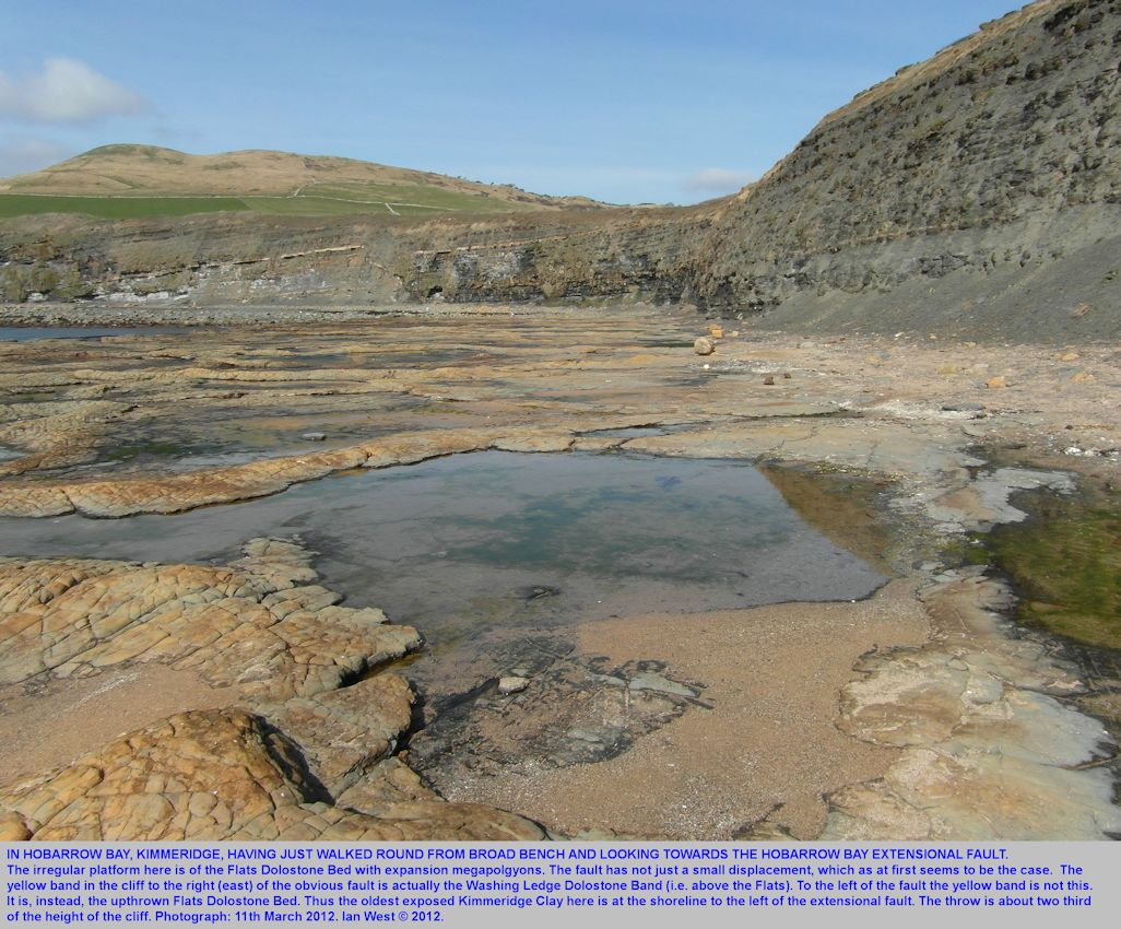 In Hobarrow Bay, Kimmeridge, Dorset, looking NW to the Hobarrow Bay Fault, March 2012