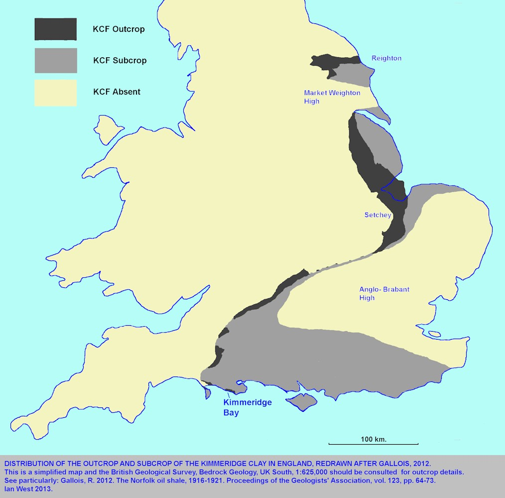 The Kimmeridge Clay outcrop and subcrop under England, modified and redrawn after Gallois (2012)